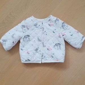Baby Gap flora and fauna quilted jacket 0-3 months